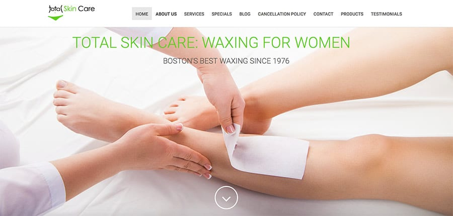 Total Skin Care has been Boston's waxing and hair removal experts since 1976. Our highly trained and experienced staff are kind and courteous, gentle and thorough. We provide a full range of services including extensive waxing (for men and women), electrolysis, and deep pore cleansing facials.