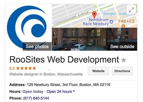 RooSites google my business